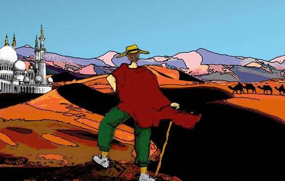 Ein Wanderer in der Wüste