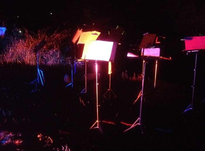 N�chtliche Stimmung am Waldsee, bunt beleuchtete Notenst�nder